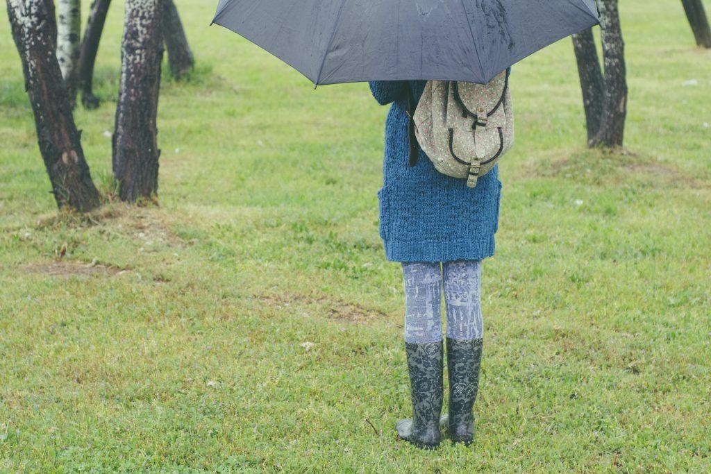 梅雨の時期のレインブーツ